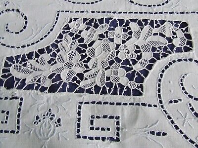 beautiful vintage Italian linen top sheet reticella lace & embroidery