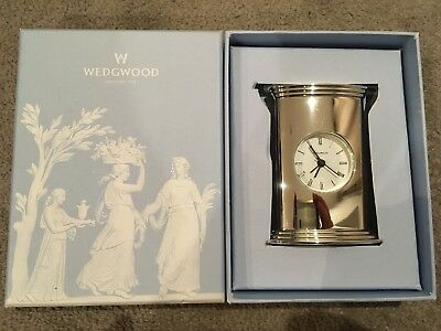 Wedgwood Silver Plated Bedside Clock With Alarm - Brand New In Box