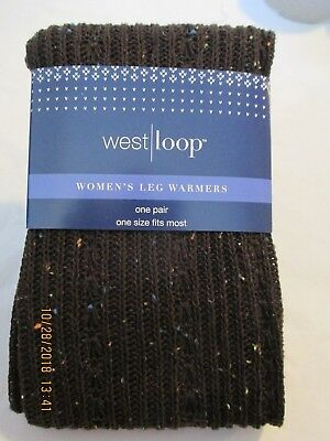 "Women's Leg Warmers One Pair One Size Fit Most Dark Brown w/ Rainbow ""Sprinkles"""