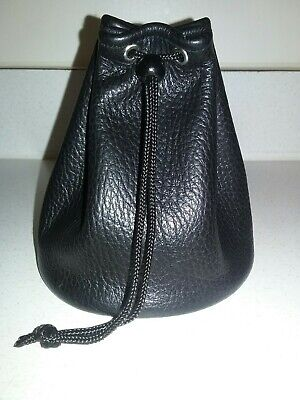 New Handmade Large Black Genuine Leather Drawstring Dice Bag Coin Pouch