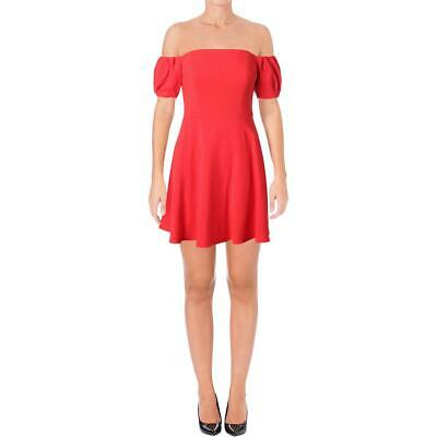 Black Halo Womens Arden Red Off The Shoulder Cocktail Mini Dress 6 BHFO 1538