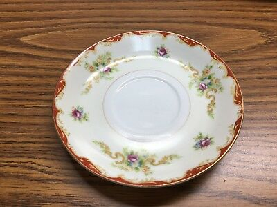 4 Vintage Occupied Japan Mira China Saucers  (NO cup)  Floral Gold Trim