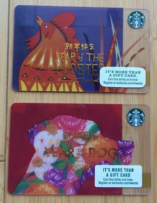 STARBUCKS New Year of the Dog 2018 Rooster 2017 Chinese Gift Card lunar calendar