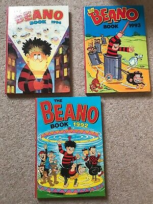 3 X The Beano Annuals From 1992, 1993, 1994 - Used Condition