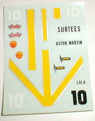 Aston Martin Lola #10 Water Slide Slot Car Decals by Dynamic Models 5535  NOS