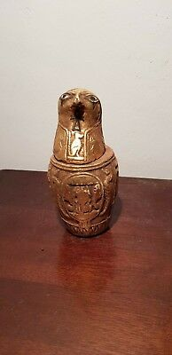 Rare Antique Ancient Egyptian Canopic Jar falcon mummify intestines1760-1680BC