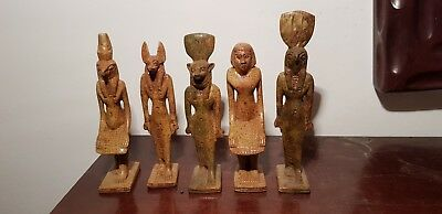 Rare Antique Ancient Egyptian 5Rare Statues Gods Horus Anubis Sekhmet1760-1640BC