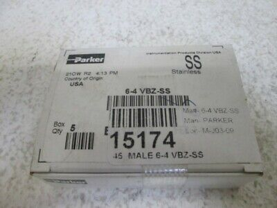 Lot Of 5 Parker 6-4 Vbz-Ss Cpi Male Elbow 45 Degree *new In Box*