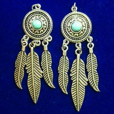 2Pcs Carved Tibetan silver Wrapped Turquoise Pendant Bead 66x19x4mm L35232