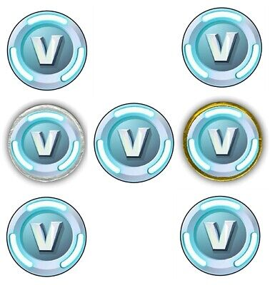 """30 Fortnite V Bucks 1.5"""" Round Labels Sticker for Cupcake Topper Chocolate Coins"""