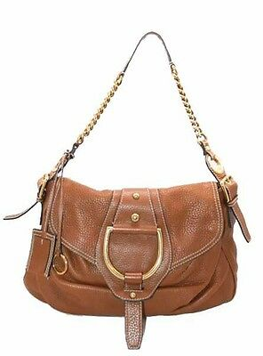 Authentic Dolce   Gabbana Brown Camel Leather Hobo Bag Gold Hardware 065a6c7f42ce5