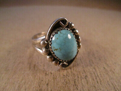 Lovely Sterling Silver & Turquoise Ring, Signed P, Size 9.5, 6.5g
