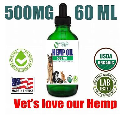 Cbd Oil for Dogs Cats Pets 500mg Anxiety Relief Hemp Calming Drops  60 ml SALE