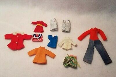 Awesome Lot Of Vintage Tiny Doll Clothes! Sweaters, Dresses, Jackets! All Great!