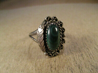 Vintage Sterling Silver & Malachite Ring, Signed RY, Size 8.25, 5g
