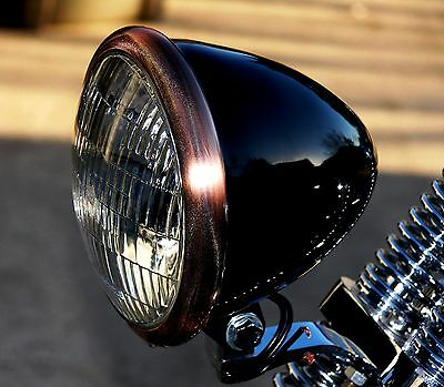 Black Powder Coated Bullet Headlight with Antique Copper Plated Ring. Bobber