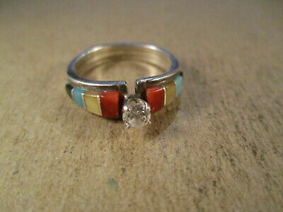 Sterling Silver & Multi Stone Inlay Ring, Signed MS, Size 7.5, 3.8g