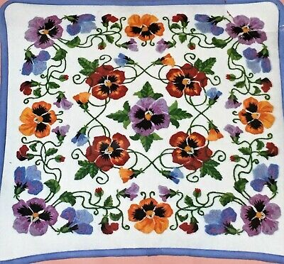 PANSY PILLOW Crewel Embroidery Kit Vintage Floral Dimensions From the Heart Rare