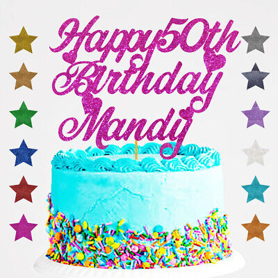 Personalised Happy 50th Birthday Glitter Cake Topper Any Name Any Age 18 21 30 1