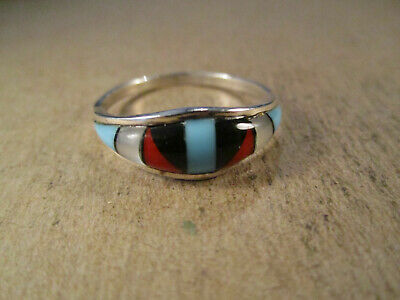 Sterling Silver & Turquoise/Multi Stone Inlay Ring, Unsigned, Size 11.75, 2.4g