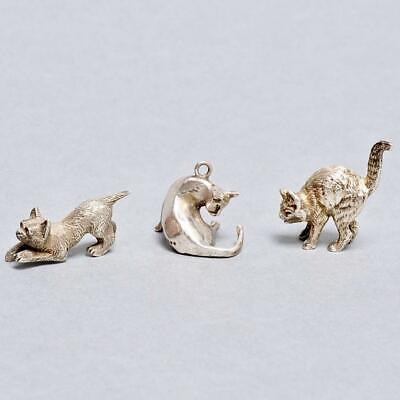 Collection Of Miniature Cats Figurines, Two Sterling Silver, London