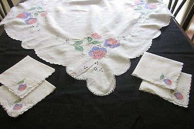 Vintage SUPPER CLOTH & 4 NAPKINS Openwork/Applique all clean c1940s