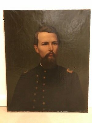 Antique 19th Century Portrait of a Military Man Soldier Gentleman Oil Painting d