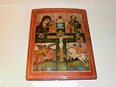 RARE LARGE ANTIQUE 19th C  RUSSIAN ICON CRUCIFIX HAND PAINTED WOOD ORTHODOX ICON