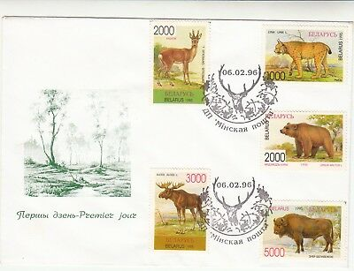 BELARUS. Wildlife. 1996.  First Day Cover Capreolus Lynx Ursus Bison Alces