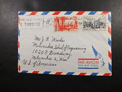 Morocco Cover 15 Apr ? Trees Casablanca To New Jersey Airmail