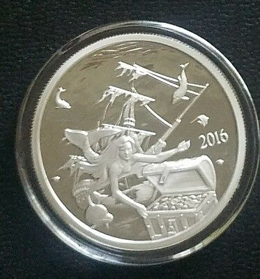 2016 1 OZ  Proof .999 PURE SILVER FINDING SILVERBUG ISLAND Mermaid Round Coin