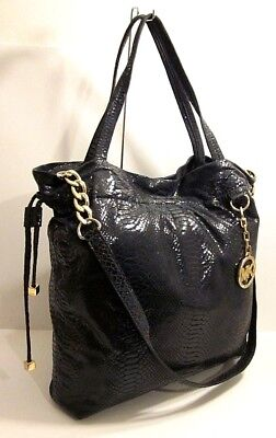 f793e0b61898c Michael Kors Snakeskin Print Black Leather Tote Shoulder Bag Purse MK Tag  Charm