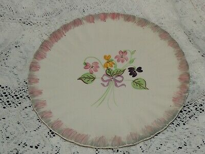 """Blue Ridge Southern Potteries Ruffled Edge Floral Bouquet Scene 10"""" Plate..LOOK"""