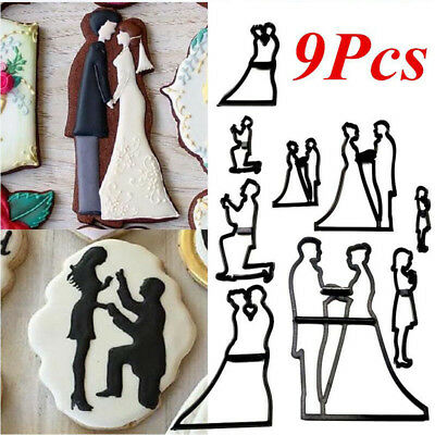 9X/SET Bride & Groom Silhouette Cookie Cutter Wedding Cake Pastry Mold DIY Decor