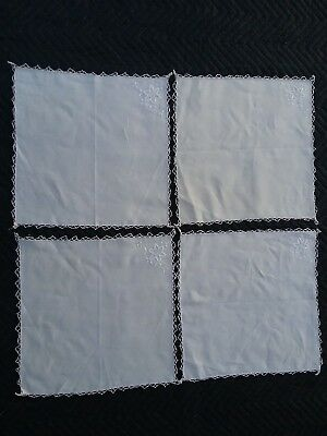 Old Antique Set 8 Needle lace Embroidered Napkins