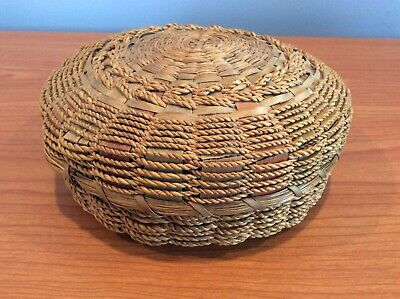 Antique Wicker Sewing Basket - Multicolor / Good Condition