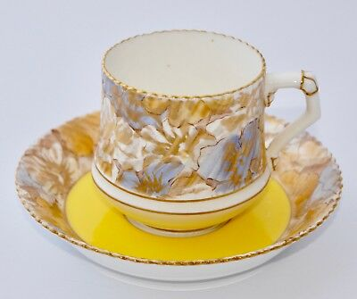 c1886 Antique EDWIN BODLEY Tea Cup and Saucer Rd50476 #7955 Yellow