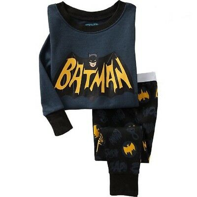 Kids Boys Baby Batman Pjs Size 2T Breathable Sleepwear Cotton Nightwear Pajamas