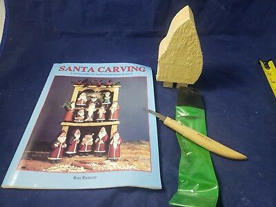 1987 Woodcarving Book Ron Ransom Santa Carving W/ widdle knife wood block NEW