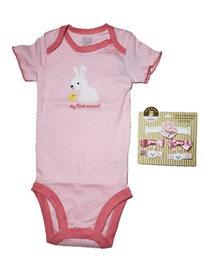 *nwt- Carter's- Baby Girl's Easter Bodysuit & 5-Pc Headwrap & Barrettes Set Lot