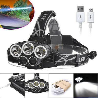 80000 LM Headlight 5x T6LED Headlamp Rechargeable18650 Zoomable Lamp Durable+USB