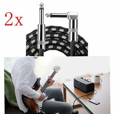 2x 10FT 3M Guitar Noiseless Braided Tweed Lead Right Angle Jack Instrument Cable