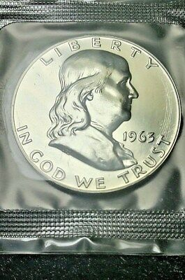 1963-P 90% Silver Franklin Proof Half Dollar sealed mint cello Stunning Free S/H