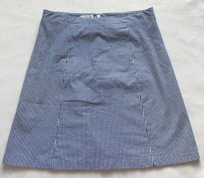 efb739600c6 Talbots Straight Skirt 14 Petite Blue White Striped A Line Cotton Blend  Lined