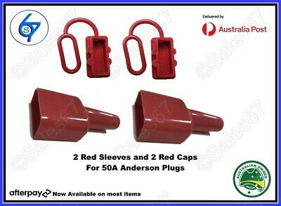 2 x DUST CAP COVER RED AND WATERPROOF SLEEVE FOR ANDERSON PLUG 50 AMP