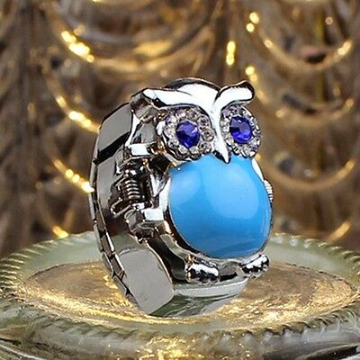 Hot Creative Fashion Retro Owl Finger Watch Clamshell Ring Watch Salable Durable