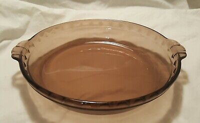 Pyrex Fluted Edge 229 Amber Brown Color Glass Dish Pie Plate