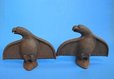 Antique Architectural Pair of Cast Iron Eagle Snow Birds Roof Guards