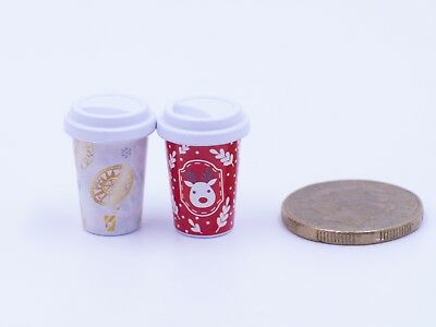 Dollhouse Miniature Kitchen / Grocery / Drink - Coffee Starbucks Christmas 1.8cm