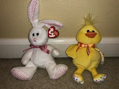 Ty Beanie Babies, Set Of 2, Rabbit Gardenia and Duckers the Duck From 2008, New!